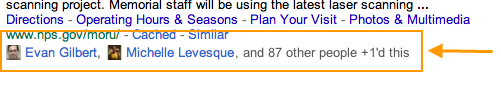 Google +1 button data in SERP