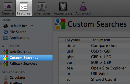 Alfred Custom Searches Preferences window