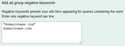 Punctutation and Negative Keywords in AdWords