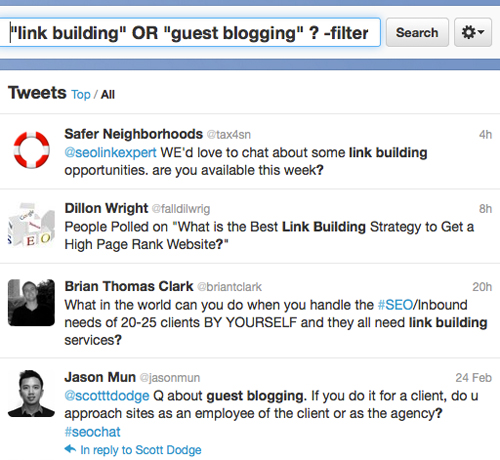 Build links on Twitter by Answering questions