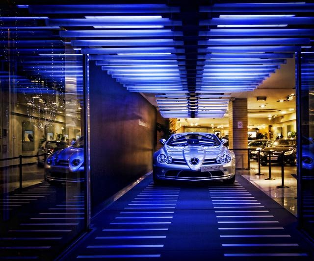 Mercedes in cool showroom