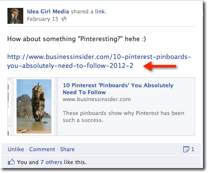Search Engine People sites Idea Girl Media's Facebook post utilizing a full link as an example for scheduling updates