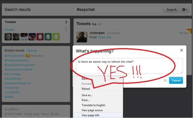 You'd also have to append #sepchat after every tweet
