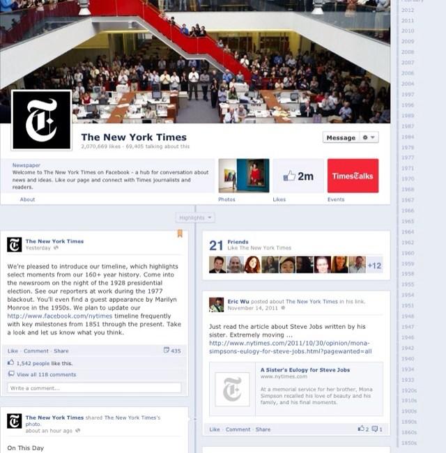 New York Times' Facebook Timeline