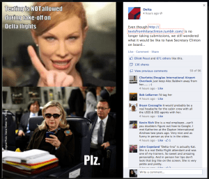 Delta jumps on the Texts From Hillary meme