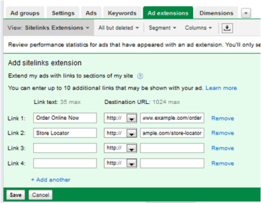how to add adwords sitelinks extensions
