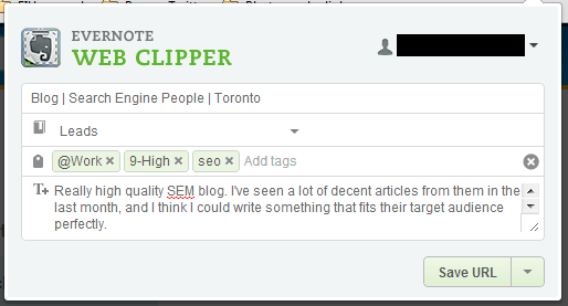 Clipping leads with Evernote Web Clipper