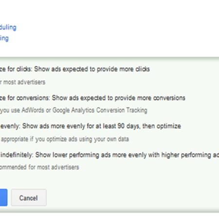 AdWords ad rotation settings