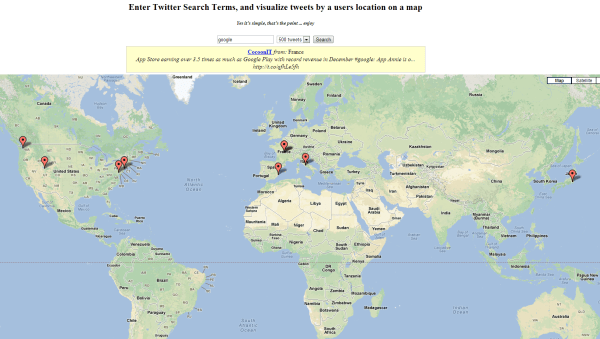 """Twitter Map search for """"google"""""""