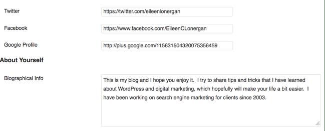 WordPress Bio Information | Guest Posting