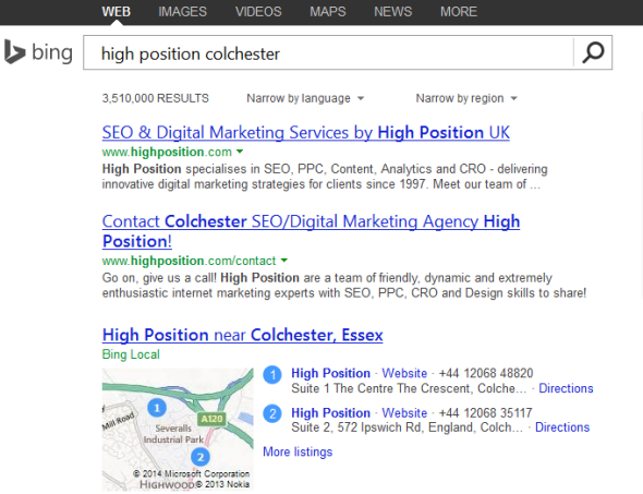 High Position Brand SERPS - Bing