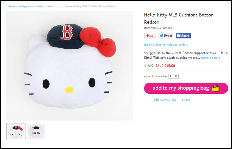 Here The Hello Kitty Official Site Has Option For Users To Pin This Plush Pillow When Click On It Button In Top Image Above