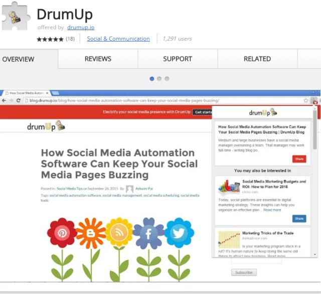 DrumUp Chrome Extension