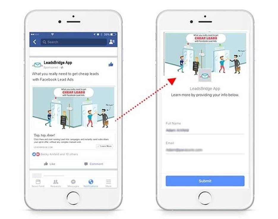 d571a7d4b4e Facebook lead ads make it easy for users to opt-in to your list without  visiting your website or landing page. Once they are added to your list