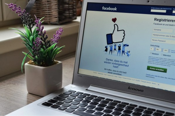 facebook on laptop