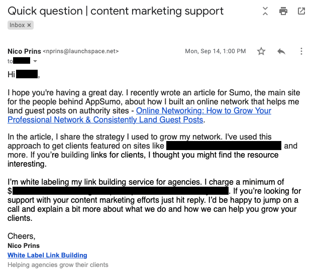 Piece of content - Profit from it by email outreach
