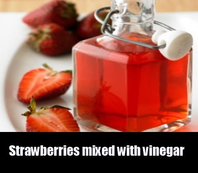 Strawberries mixed with vinegar