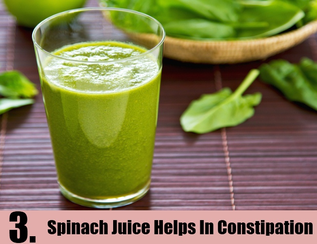 Spinach Juice Helps In Constipation