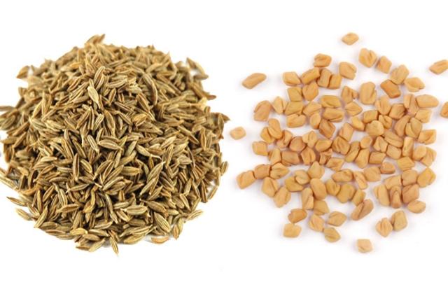 cumin seeds and fenugreek seeds