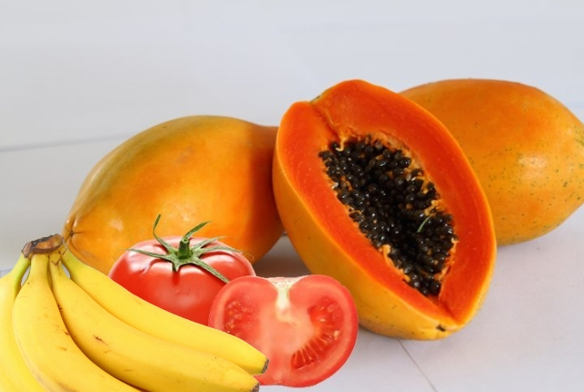Bananas, Papaya And Tomatoes
