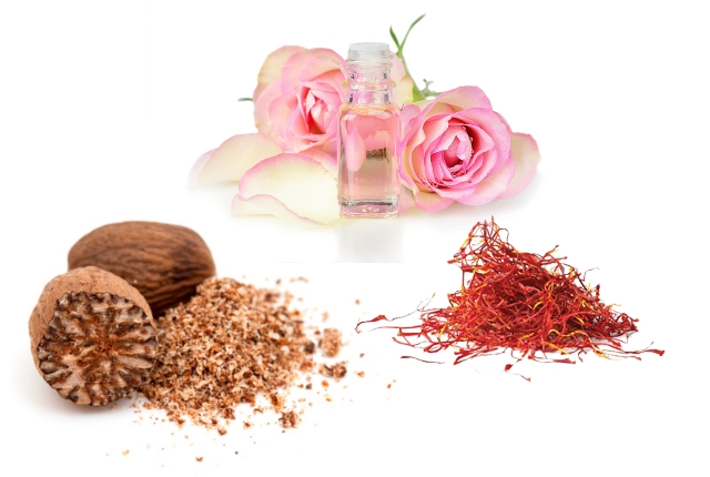Nutmeg, Saffron, Rose Water