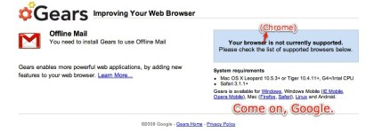 Google Gears Does Work with Chrome? You don't say!