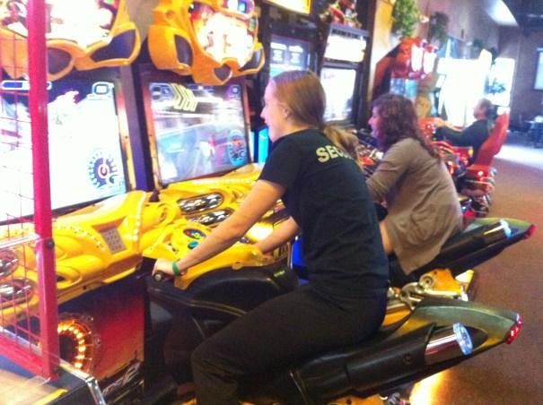 Julie and Sarah racing.