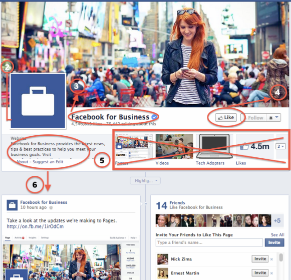 Facebook's current Page Timeline layout before March 2014 update