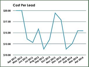 Plastic Surgery Case Study - Cost Per Lead Graph - Search Influence