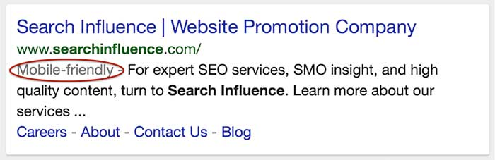 mobile-friendly tag in iphone search results