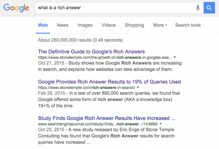 Image Of Google Search Results For What Is A Rich Text Answer