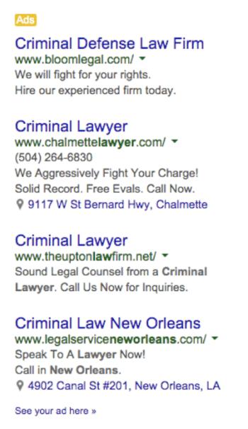Criminal Lawyer Google PPC Ads