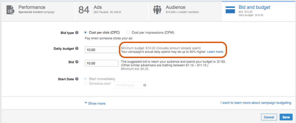Image Of Competitor Bidding Data For Online Advertising LinkedIn - Search Influence