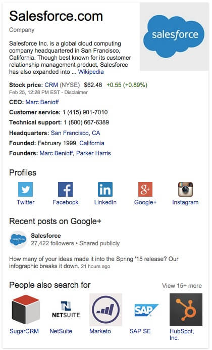Salesforce Google Plus Account Screenshot - Search Influence