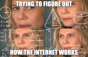 Image of a woman trying to decipher the workings of the internet - Search Influence