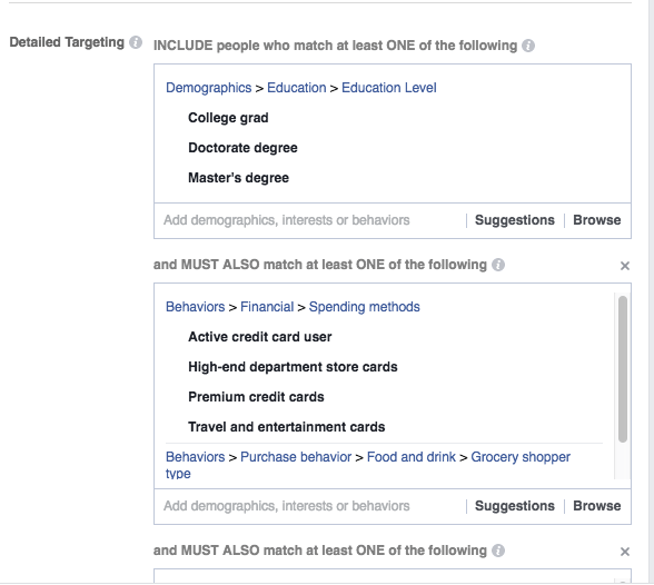 Example Of Detailed Targeting Image - Search Influence