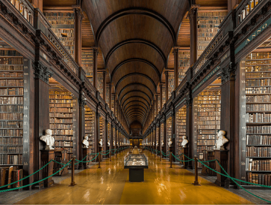 Main hall in Trinity College library - Search Influence