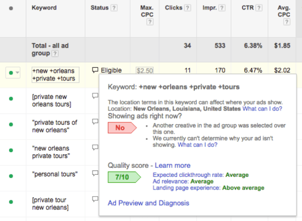 Screenshot of keyword analysis in AdWords - Search Influence