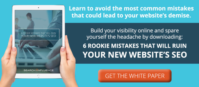 Image Of 6 Rookie Mistakes White Page Graphic For Search Influence - Search Influence