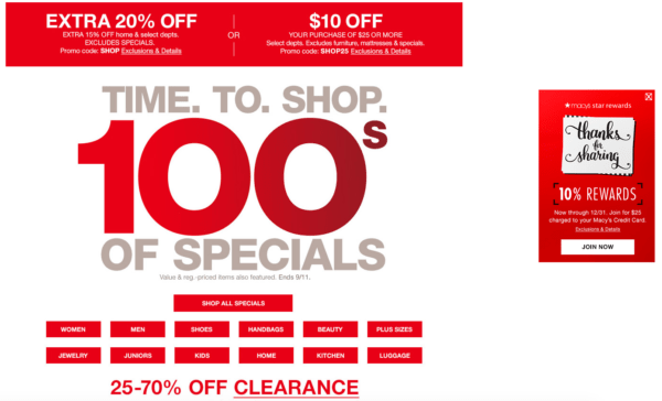 Image Of Macy's Landing Page Sale - Search Influence