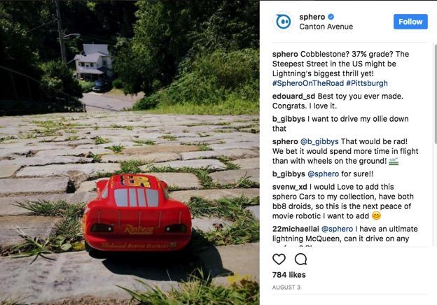 Screenshot of Sphero's Instagram post