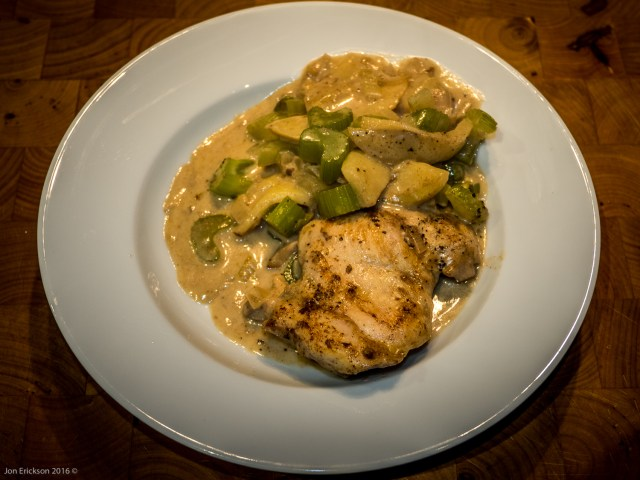 Outstanding dinner of Chicken with Calvados