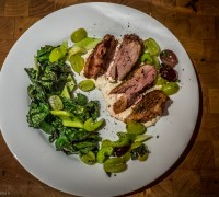 Grilled Duck Breast with Charred Greens, Grapes and Celery