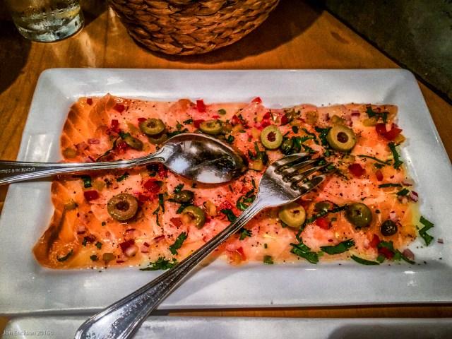 Salmon carpaccio at La Querencia