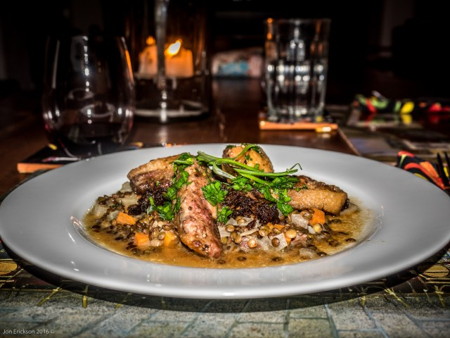 Duck Scaloppine with Warm Bacon Lentils