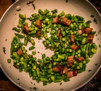 Asparagus and Bacon Cooking