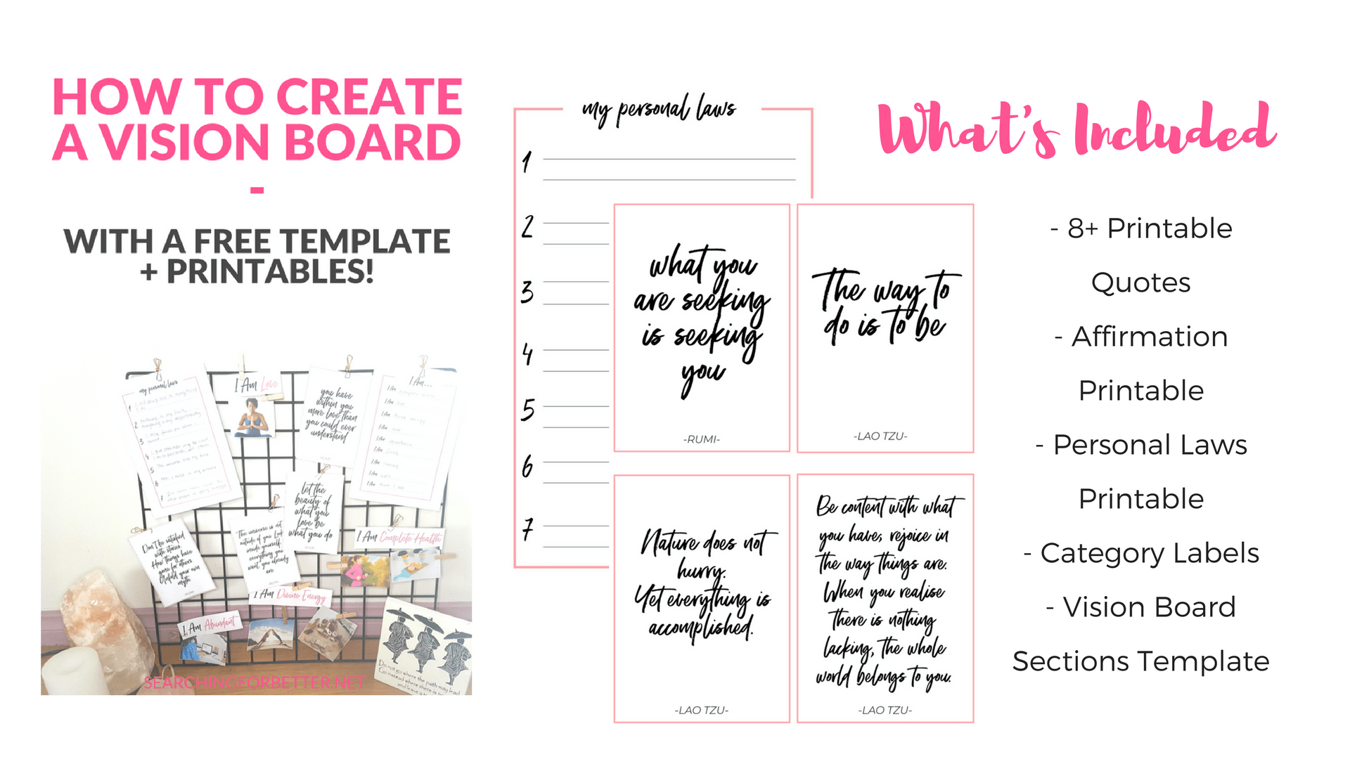 Creating A Vision Board 2018 (With Free Vision Board Template + ...