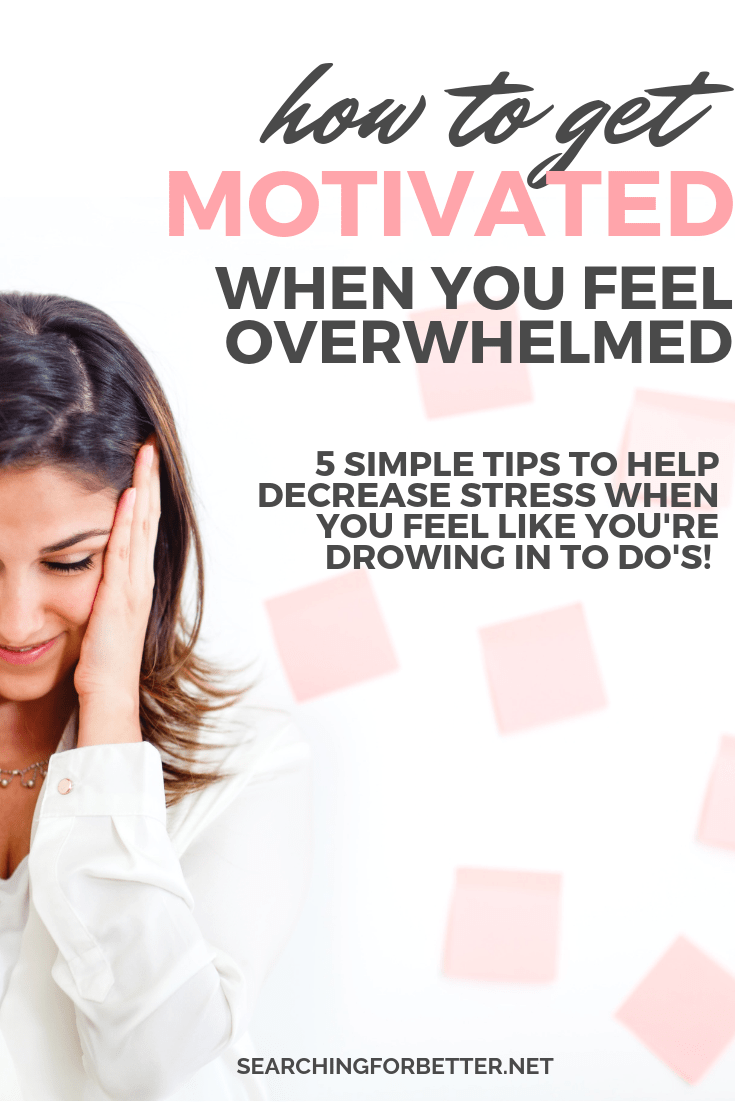 How To Get Motivated In #Life When Feeling Overwhelmed. Whether you're trying to find #motivation to study, to clean, to lose weight to workout or when your depressed these #tips can help! These are 5 simple things I found really helpful in finding motivation to get going again when I felt like I was drowning in to-dos and feel like you've lost all perspective. It's also a great way to stop letting our thoughts of self doubt run our lives! #mindset #selfcare #productivity #healthylifestyle #mentalhealth