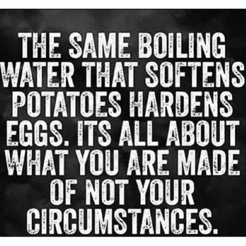 The same boiling water that softens potatoes, hardens eggs. It's all about what you're made of NOT your circumstances.