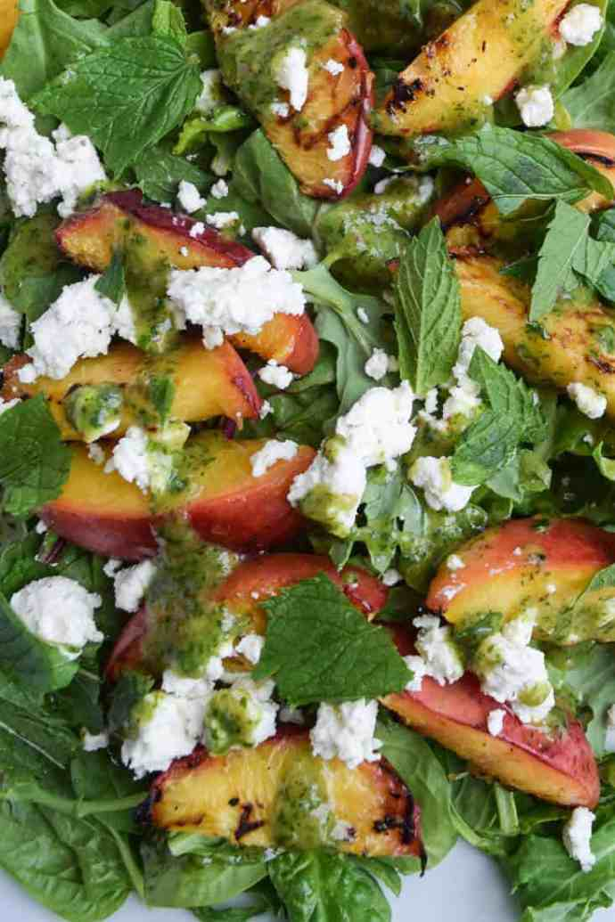 Grilled Peach Salad With Mint close up